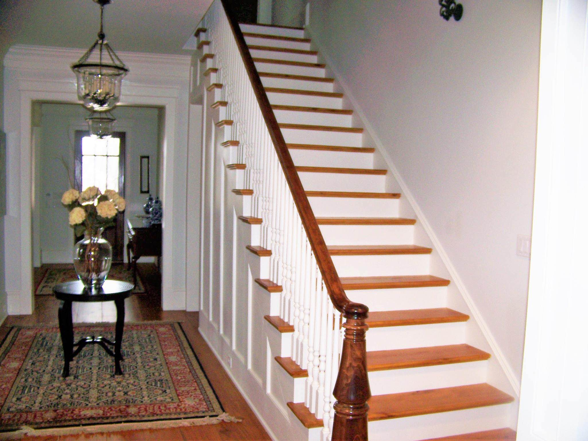 Custom turned newel post and custom handrail - Augusta, GA