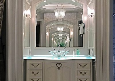 Painted bowfront vanities and arched niche with mirrors - Columbia, SC