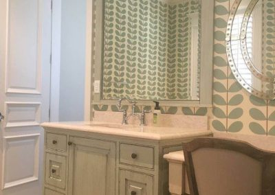 Painted and glazed vanity, mirror, and make-up area. Brushmark emulsion paint. - Columbia, SC