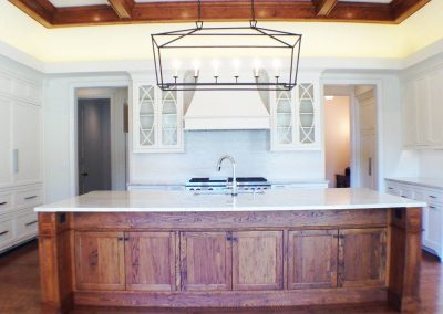Wormy chestnut island and painted perimeter cabinetry - Columbia, SC