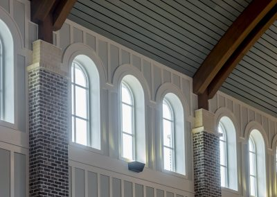 St. Anne Catholic Church, Richmond Hill, GA - Close-up of the upper windows.